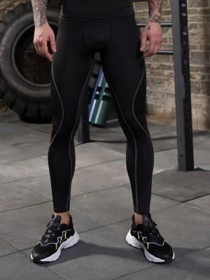 Handsome Men's Leggings Full Length Patchwork For Workout