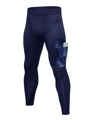Shimmer Navy Blue Training Pants Quick Drying Pocket Elastic