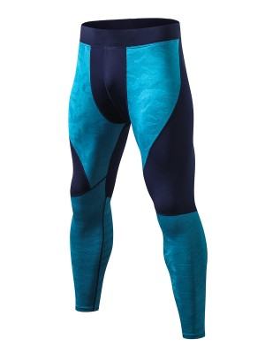 Magic Royal Blue Colorblock High Stretch Leggings For Holiday