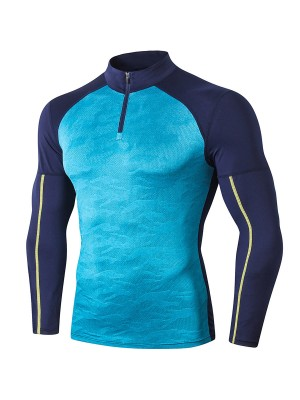 Vivid Flawless Royal Blue Zip Neck Colorblock Men's Running Top