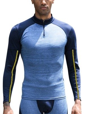 Splendor Dark Blue Raglan Sleeve Running Top Half-Zip Male Fashion