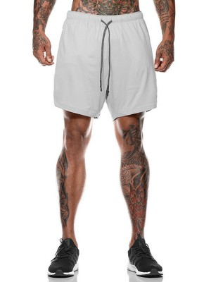 Smooth Gray Pockets High Rise Training Shorts Stretchy Fabric