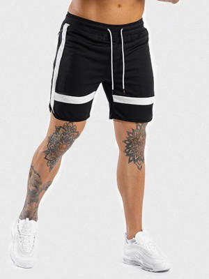 Slim Black Shorts Contrast Color High Waist For Running