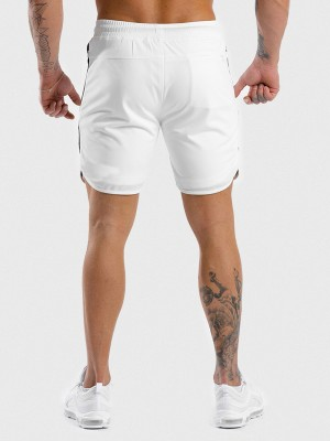 Scintillating White Drawstring Men's Shorts Elastic Waist Outdoor Activity