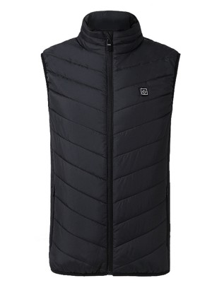 Stylish Black USB Heating Vest With Zip Pockets For Strolling