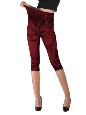 Cheeky Wine Red Denim Printing 3/4 Leggings Queen Size Tops For Women