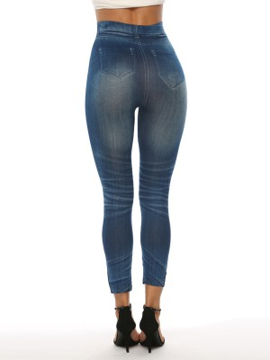 Modest Fake Denim Print 7/8 Length Leggings Women Clothes