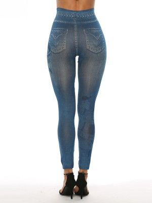Gracious Fake Jeans Printed Leggings High Waist Casual Fashion
