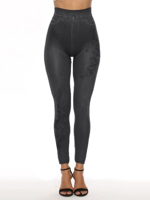 Plain 7/8 Length Imitation Denim Leggings Amazing Look