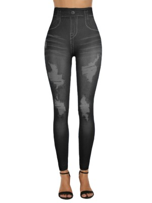 Royal Legging 7/8 Length Printed Fake Denim All-Match Style