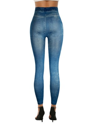 Flattering Imitation Jeans High Waist Leggings Good Elasticity