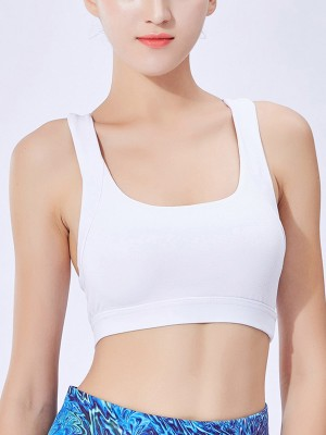 Super Comfy White Cross Backless Shockproof Yoga Bra Feminine