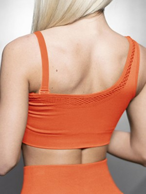 Sporty Orange Seamless Asymmetric Sports Bra Cutout Moving