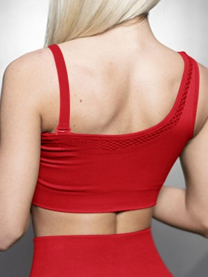 Alluring Red Exercise Bra Seamless Widen Hem Hollow Holiday