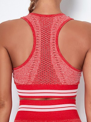 Custom Logo Red U-Neck Racerback Athletic Bra Knit Wholesale