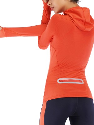 Ultra Sexy Orange Zipper Sports Top Thumbhole Full Sleeve For Street Snap