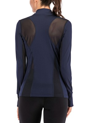 Enviable Dark Blue Full Sleeve Top Side Pockets Zipper For Training