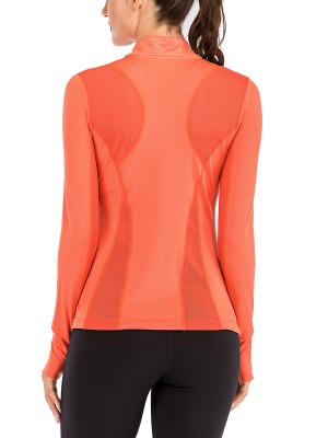 High Elastic Orange High Neck Running Top Long Sleeve Zipper Fashion
