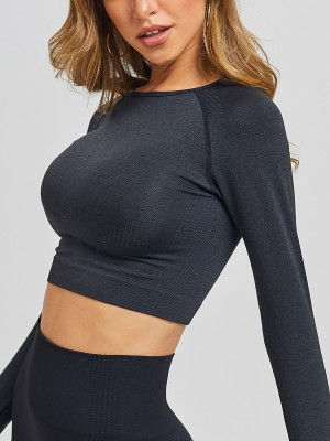 Irregular Black Athletic Top Full Sleeve Solid Color Tight