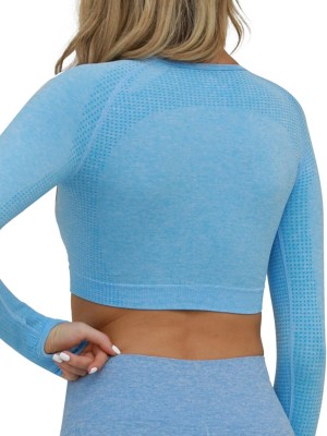 Classy Light Blue Seamless Thumbhole Athletic Cropped Top Fashion