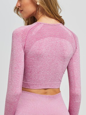 Contouring Sensation Pink Round Collar Running Top Seamless For Running