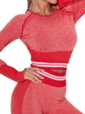 Flattering Red Contrast Color Yoga Top Knit Thumbhole Simplicity