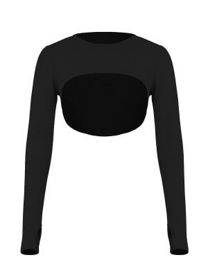 Black Round Collar Long Sleeve Crop Top For Women Runner