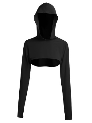 Black Hooded Neck Detachable Cups Crop Top For Exercising