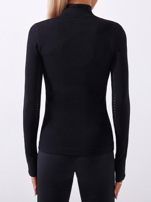 Black Long Sleeves Seamless Zipper Sports Jacket Nice Quality