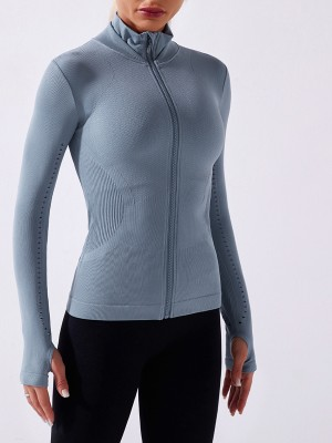 Blue Seamless Full Zip Workout Top With Thumbhole High Elastic