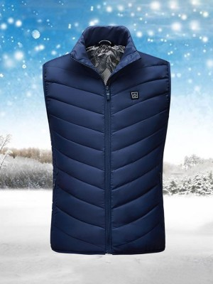 Unique Blue Heating Vest High Collar Zipper Kinetic Fashion