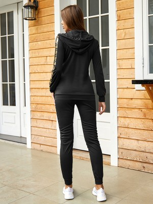 Resilient Black Zip Hooded Neck Sweatsuit With Pocket Stretch