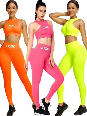 Orange Cropped Sleeveless Back Zipper Ladies Gym Sets Good Elasticity