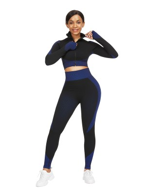 Plain Dark Blue Stand-Up Collar Top High Rise Leggings Casual Wear