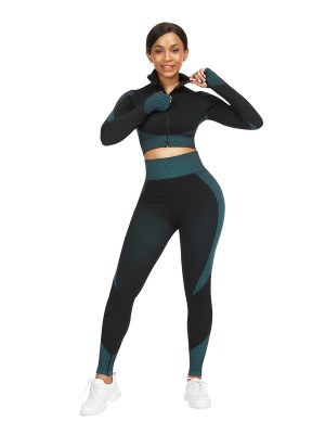 Lake Blue Thumbhole Zipper Contrast Color Yoga Suit For Training