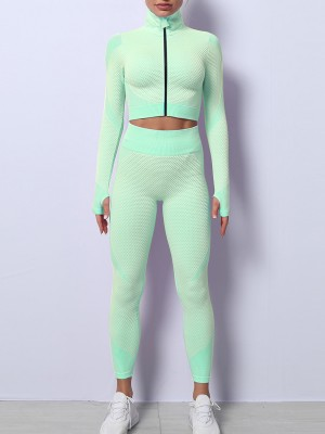 Grass Green Long Sleeves Zipper Sports Two-Piece Outfits Workout Clothes