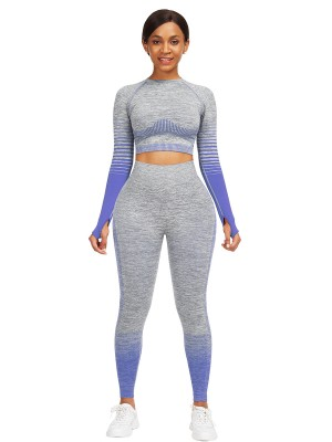 Plain Royal Blue Full Sleeve Top Ankle Length Pants Workout Clothes