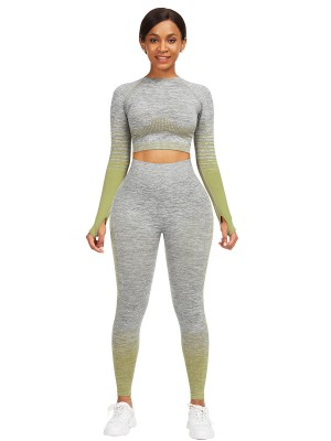 Splendid Army Green Thumbhole Crop Top Full Length Leggings Stretched