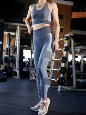 Unbelievable Gray U-Neck Top High Waist Yoga Legging High Elastic