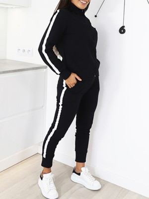 Seductive Black Long Sleeves High Collar Sports Suit Charming