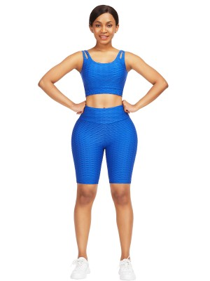 Online Blue Sweat Suit With Pocket Wide Waistband Stretchy Fabric