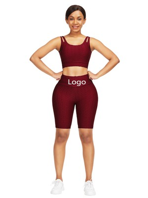 Brilliant Wine Red Scoop Neck Crop Jacquard Sports Suit