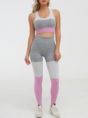 Stretched Pink High Rise Yoga Suit Seamless Cutout Running Outfits