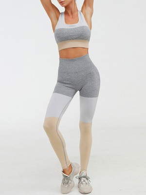 Sporty Yellow Seamless Yoga Suit Hollow Out Back For Camping
