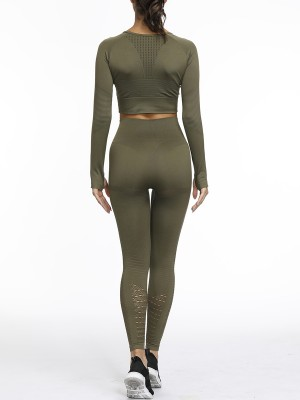 Sassy Army Green Hollow Seamless Yoga Suit Round Neck Elastic