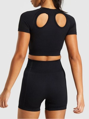 High Elasticity Black Hollow Seamless Sports Set High Waist