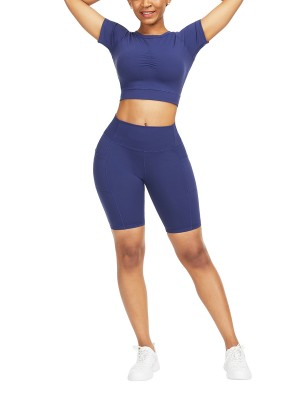 Smooth Dark Blue Ruched Athletic Set Solid Color Moving Online
