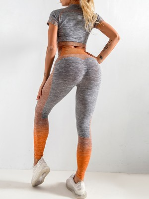 Tight Orange Short Sleeve Top Seamless Knit Leggings Cheap Online Sale