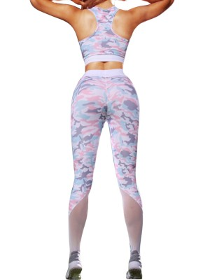 Cozy Pink High Waist Camo Legging And Bra Set Running Clothes