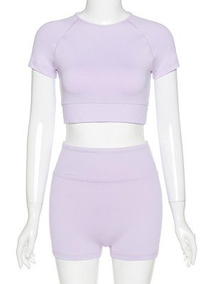 Scintillating Purple Short Sleeves Yoga Suit Crop Plain For Beauty